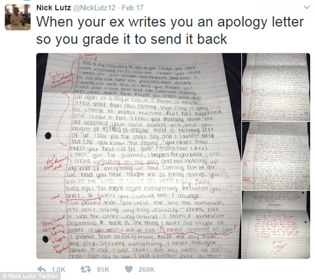Student suspended for grading his exgirlfriends apology letter